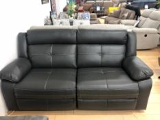 Brand new boxed Langdale 3 seater plus 2 seater reclining sofas in black leather