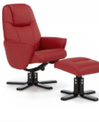 Brand new boxed rc079 red leather swivel reclining chair and footstool
