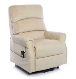 Brand new boxed Augusta rise and recliner electric chair in beige fabric