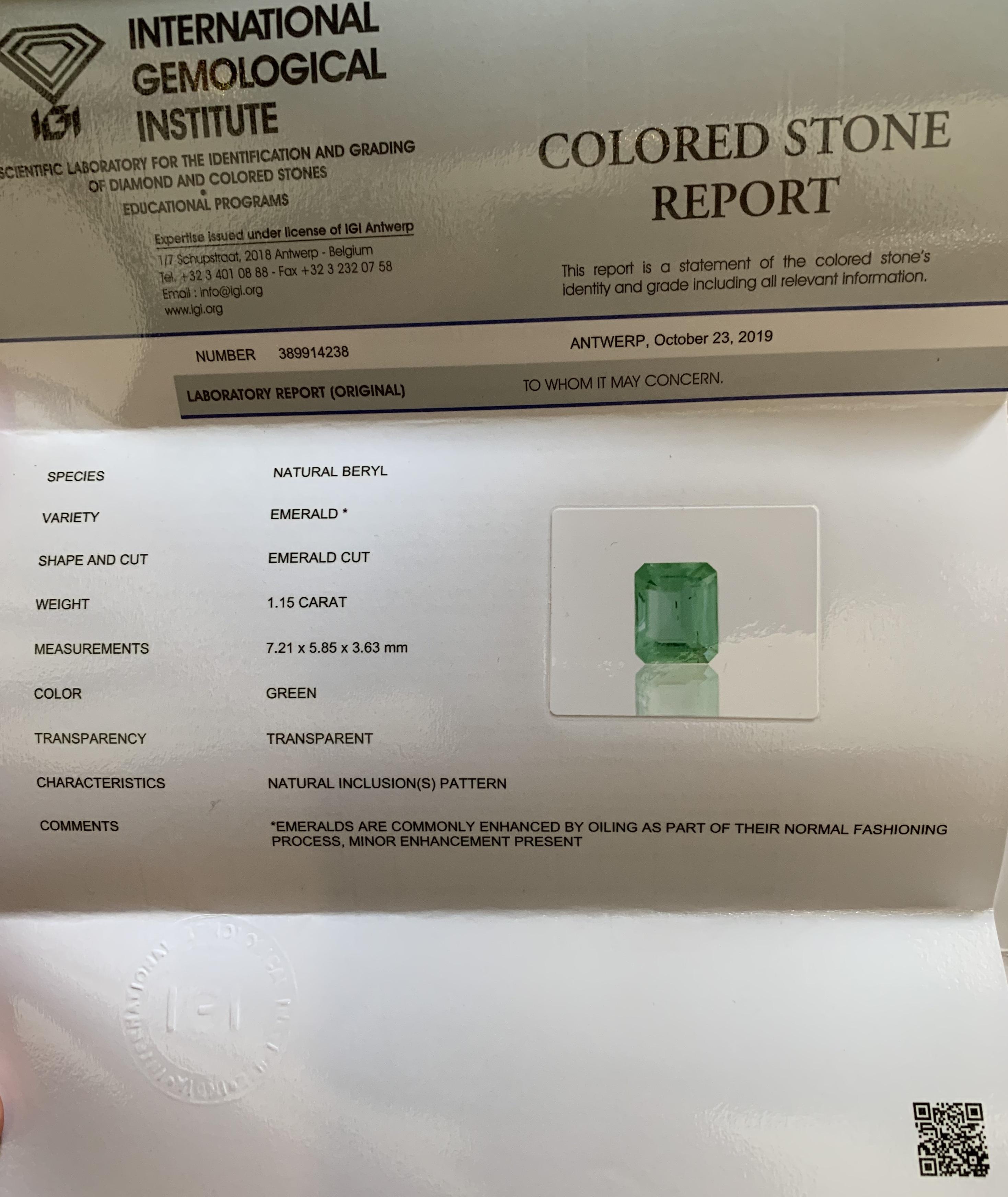 Emerald, 1.15 Ct - Image 6 of 6