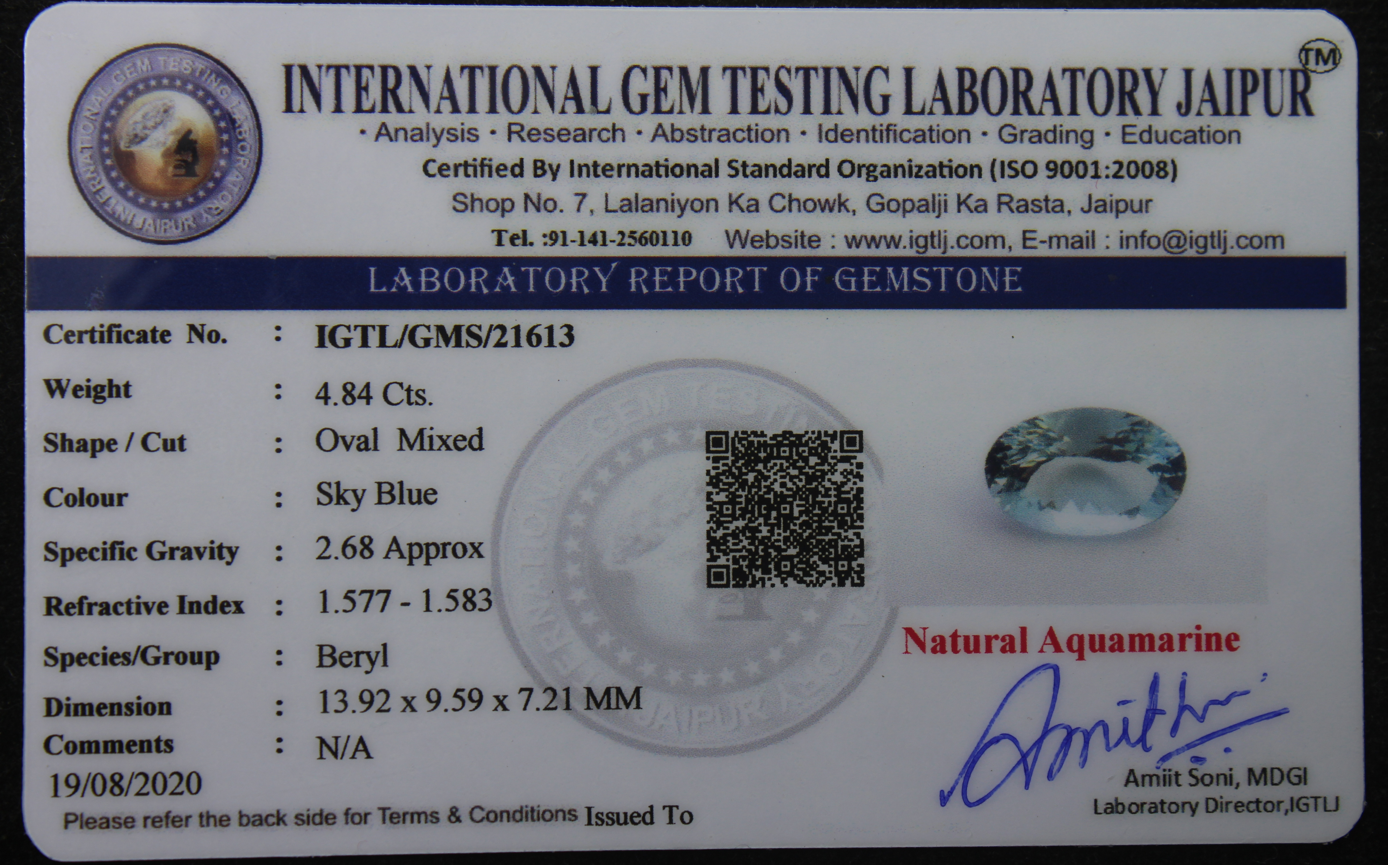 Aquamarine, 4.84 Ct - Image 5 of 5