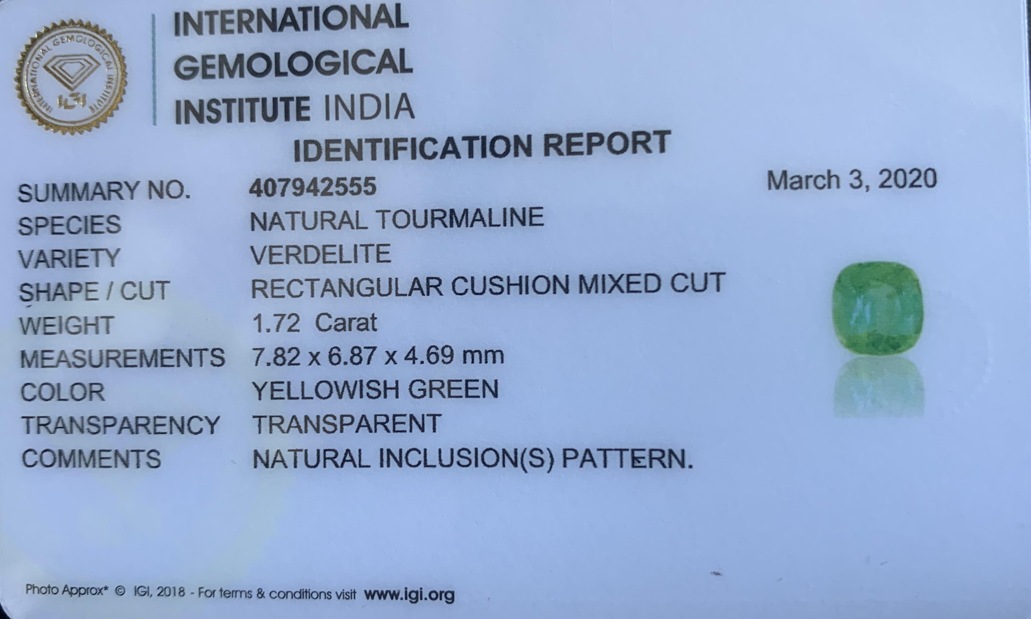 Green Tourmaline, 1.72 Ct - Image 6 of 6