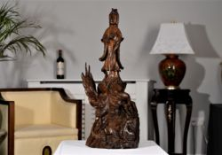 Hand Carved Wood Chinese Guan Yin Figure