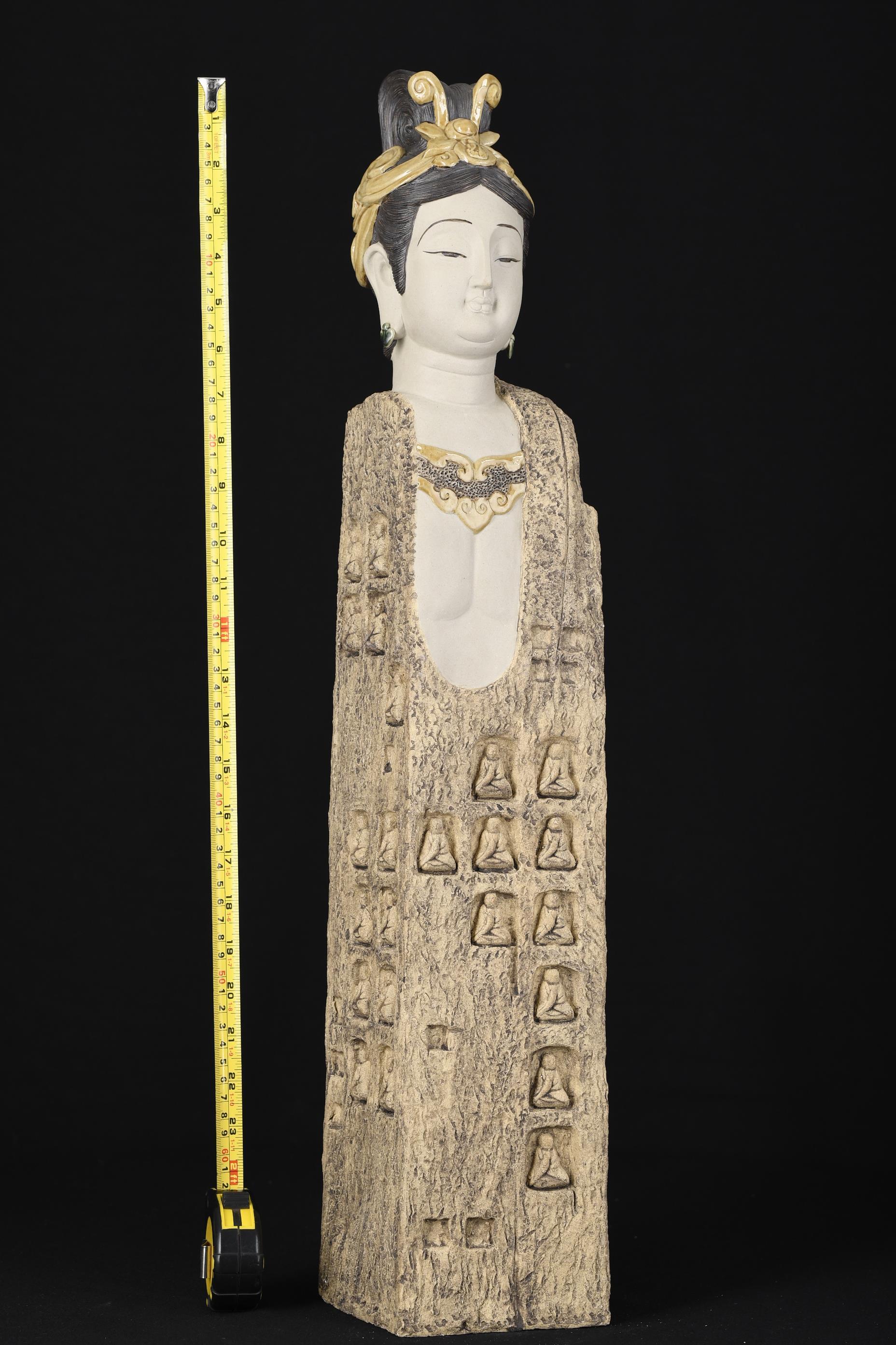 2ft High Hand Sculptured Shiwan Goddess - Image 7 of 8