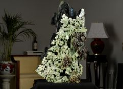 Large Very Intricate Jade Stone Hand Carving