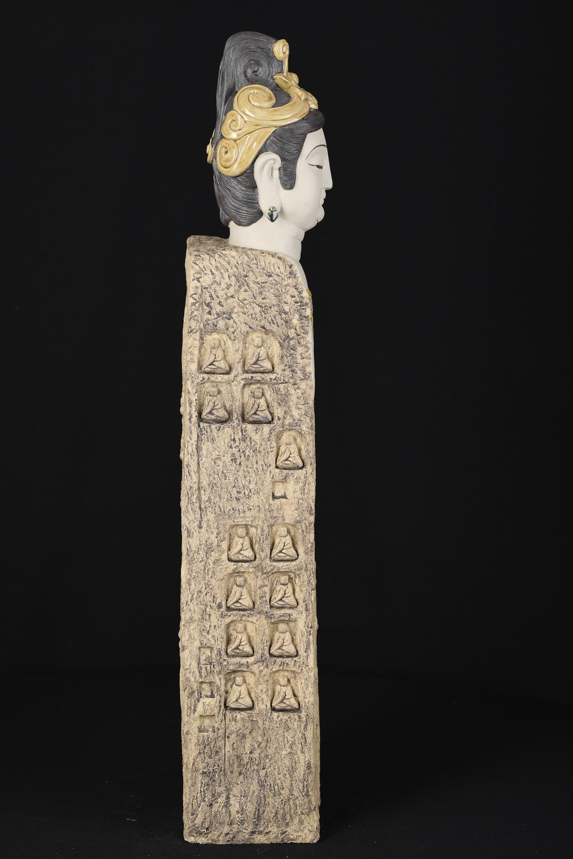 2ft High Hand Sculptured Shiwan Goddess - Image 6 of 8