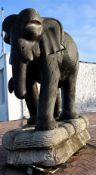 Amazing Life Size Hand Carved Wooden Elephant