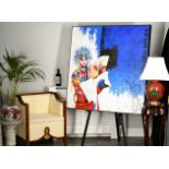 Stunning Original Large Chinese Oil on Canvas (Beijing Opera)