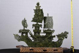 Large Jade Stone Carved Dragon Boat