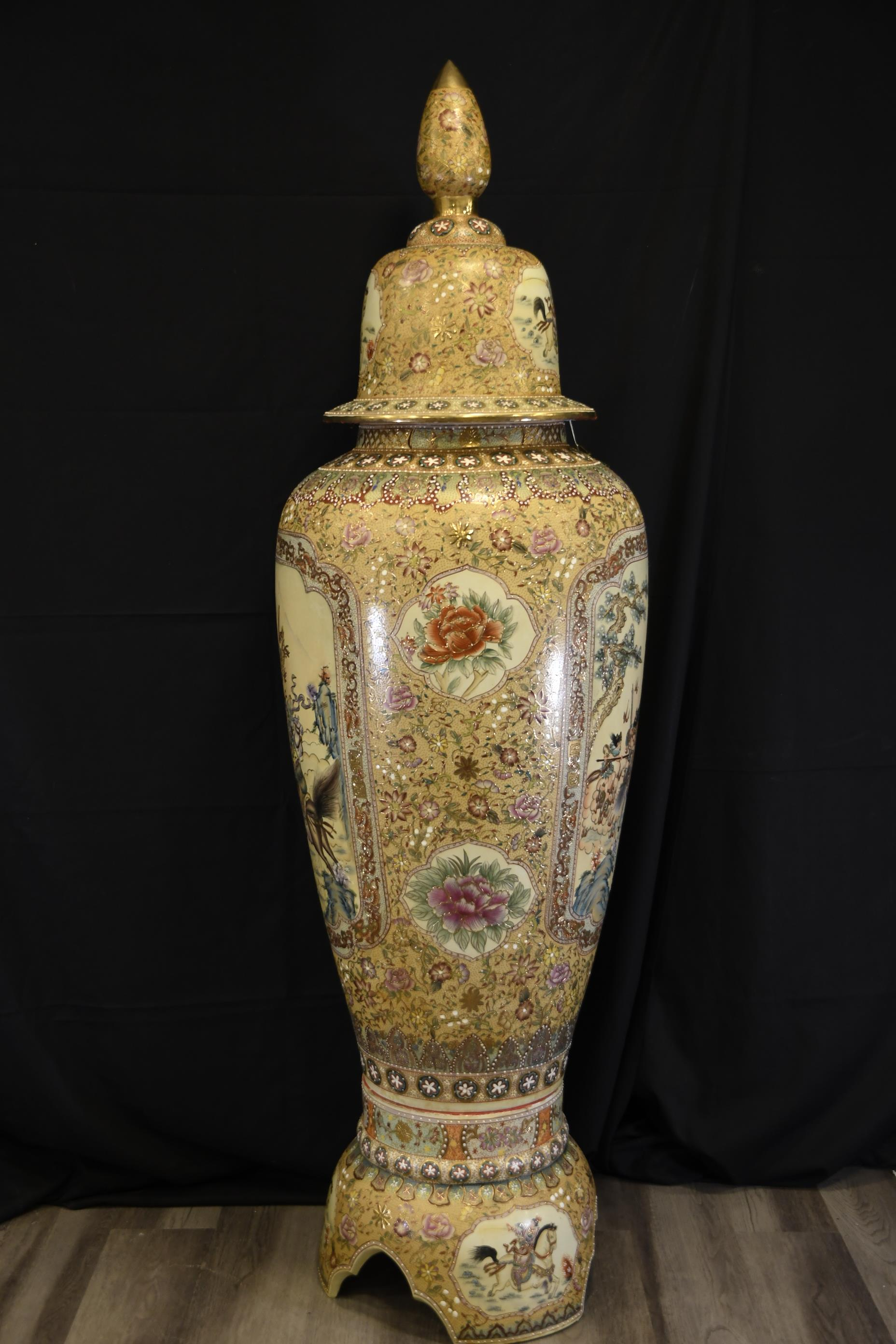 Large Hand Painted Porcelain Temple Jar - Image 10 of 13