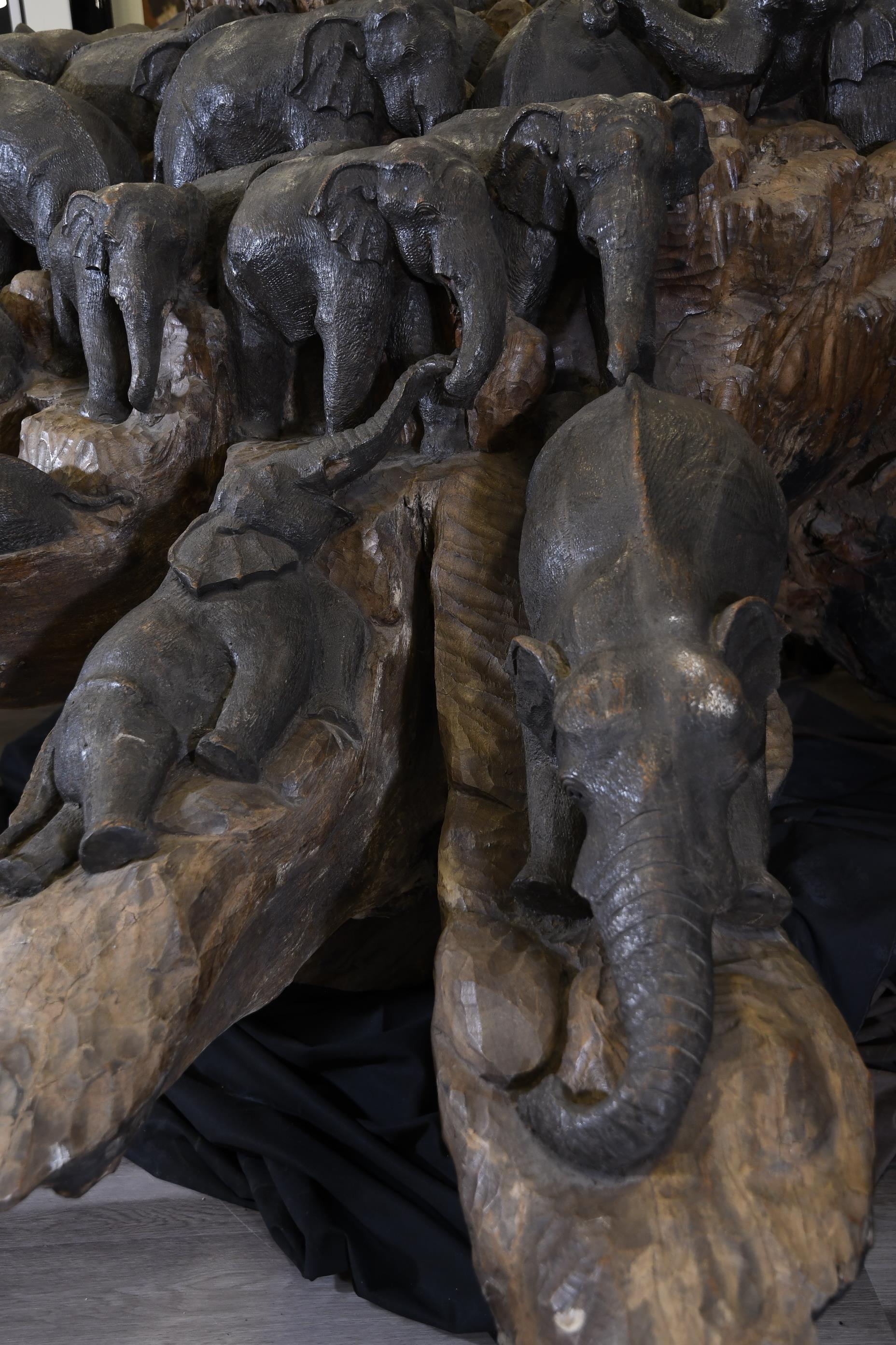 Amazing Unique Art Wood Carving of 47 Elephants Carved from One Piece of Wood - Image 7 of 10