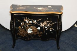Black and Gold Hand Painted Chest of Drawers
