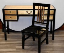 Lacquered Gold Leaf Inlayed Desk and Chair