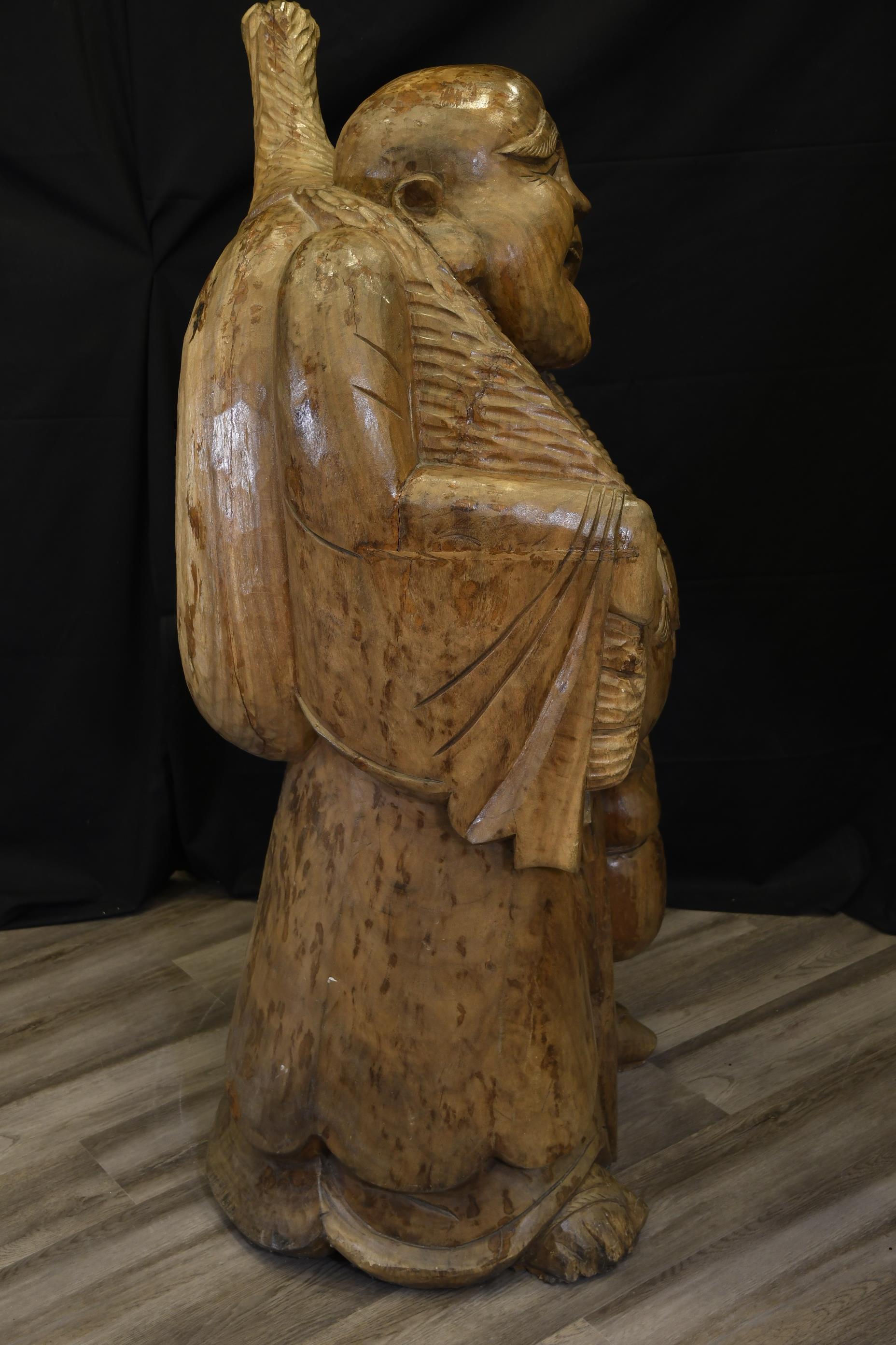 Large Wooden Buddha - Image 4 of 8