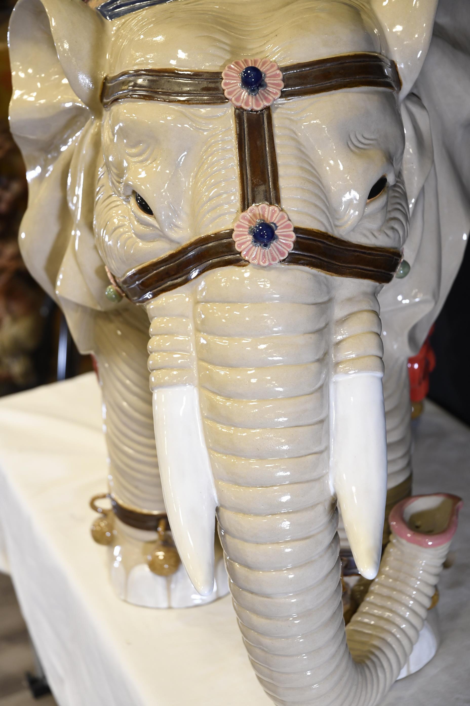 Large Handmade Porcelain Elephant - Image 4 of 10