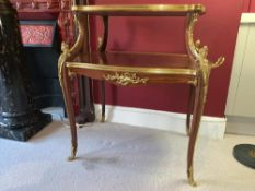 Tea Table by F Linke 19th-Century, French Gilt Bronze, Louise XV Style, Ormolu Mounted Parquetry Two