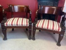 Pair of Mahogany Chairs, 19th-Century