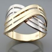 14K Yellow and White Gold Ring - Italian Design.
