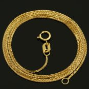 45 cm (17.7 in) Wheat / Spiga Chain Necklace. In 14K Yellow Gold