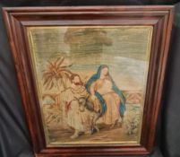 Antique Early Victorian Religious Tapestry Mary Joseph & Jesus