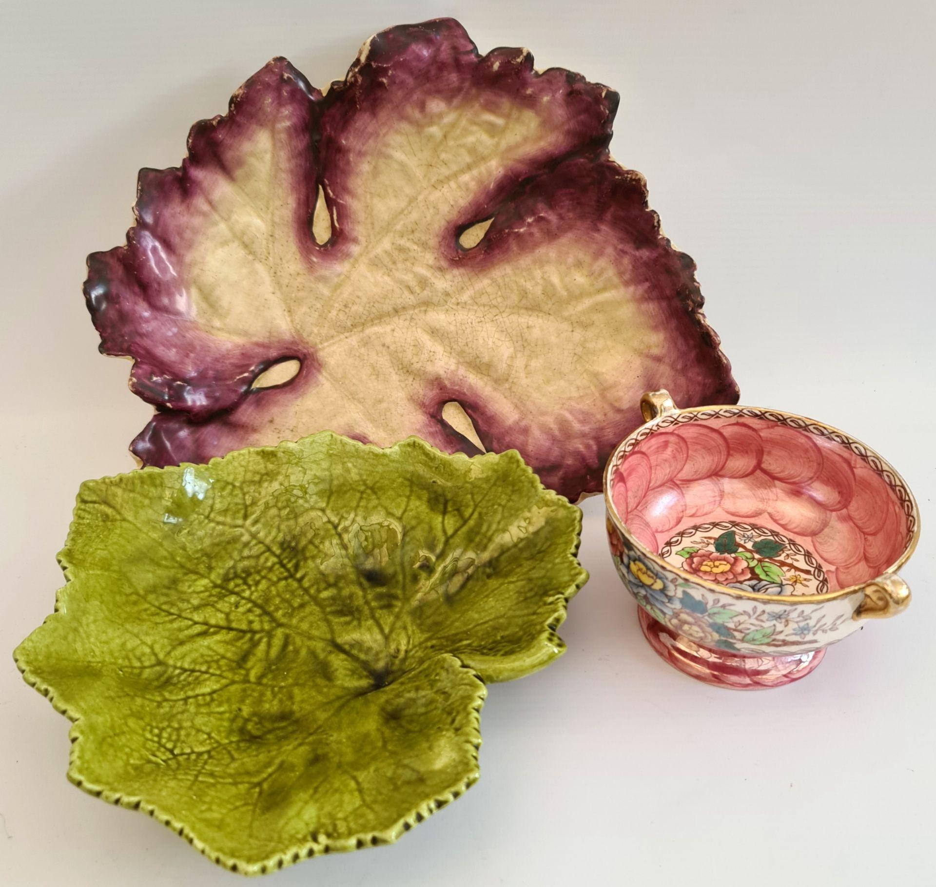 Antique Bretby Vine leaf Pottery Mailing & Minton - Image 2 of 5