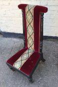 Antique Victorian Ebonised Mahogany Prei Dieu Nursing Chair