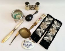 Antique Enamel Brandy Decanter Label Opera Glasses etc.