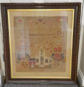Antique Vintage Large Lancashire Sampler c1851 Isobel Collins Scotch Church