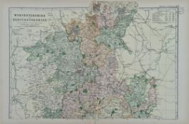 Antique Map of Worcestershire & Gloucestershire 1899 G. W Bacon & Co