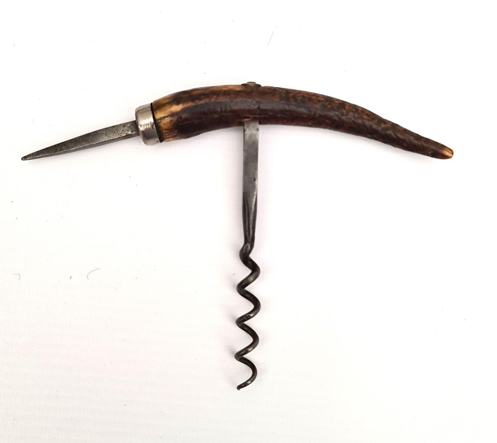 Vintage Corkscrew Antler Handle & Can Spike