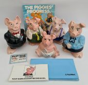 Vintage Original 5 Set Westminster Wade Piggy Banks Includes Original Literature