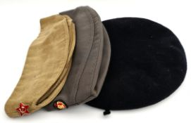 3 Assorted Military Hats British 1949 Russian 1970's