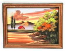 Vintage Kitsch Painting Tropical Scene Framed
