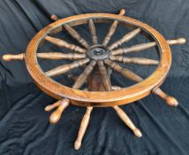 Vintage Retro Ships Wheel Coffee Table c1970's