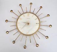 Retro French Phinney Walker Transistor Sunburst Wall Clock