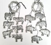 Metal Pig & Cow Wind Chimes