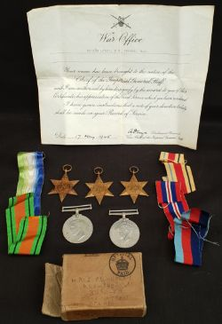 WWII Medals Atlantic Star 1939-45 Star Africa Star Defence Medal War Medal 1939-45 Plus Certificate