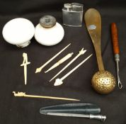 Parcel Vintage Items Bone Carved Cocktail Sticks Ceramic Door Handles Brass Shoe Horn