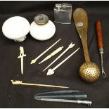 Parcel Vintage Items Bone Carved Cocktail Sticks Ceramic Door Handles Brass Shoe Horn