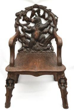Antique Wood Black Forrest Bear Chair