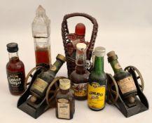Vintage 9 x Miniature Bottles of Alcohol Includes Rum Brandy etc.