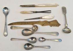 Antique Parcel of Plated Items Includes Mother of Pearl Items