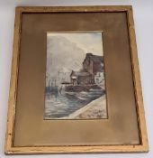 Antique Art Watercolour Nautical Picture Signed Lower right