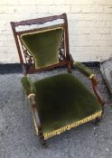 Antique Edwardian Mahogany Armchair Carved Back Green Velvet Padding