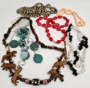 Vintage Costume Jewellery Includes Wooden Animal Necklace