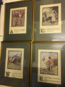 4 x Mounted & Framed Hunting Illustrations