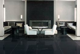 New 11.7M2 Porcelanosa Extreme Black Wall And Floor Tiles. 60x60cm Per Tile, 0.9M2 Per Pack. Bl...