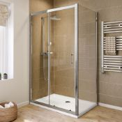 New (K8) 1000x900mm + 1000x900mm Tray Included. - 6mm - Elements Sliding Door Shower Enclosure....