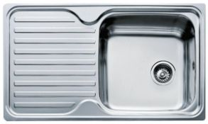 New (P25) Inset Stainless Steel Sink With One Bowl And One Drainer (Left Hand). Inset Sink, One...