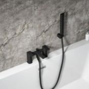 New (P47) Deck Mounted Matt Black Bath Shower Mixer Tap Handset & Hose Square Bathroom. The Inn...